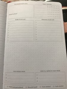 Planner I fill in at the beginning of every new month with my new goals