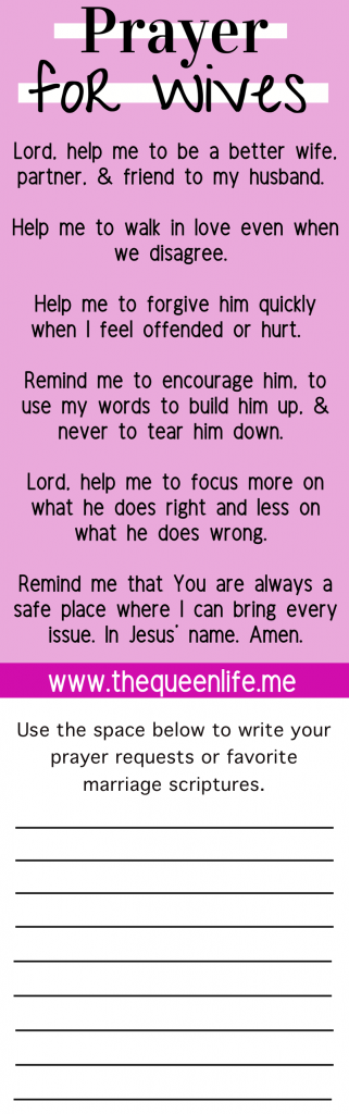 Printable Marriage Prayers for Wives to pray over themselves