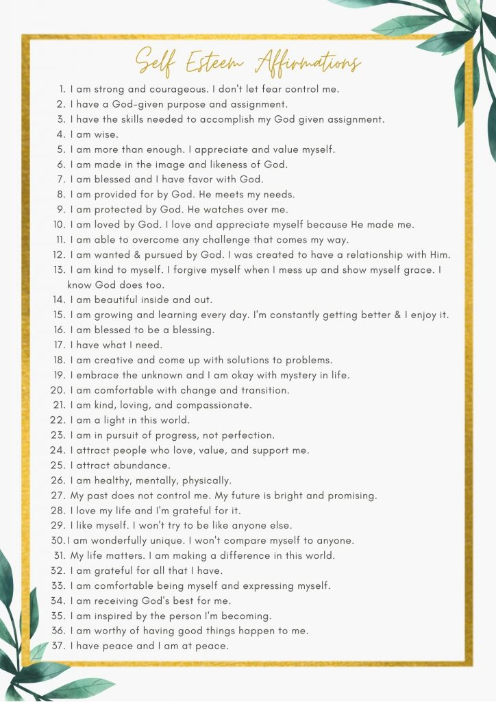 A list of 37 Self Esteem Affirmations to Boost Confidence from The Queen Life