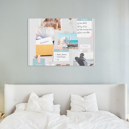 Vision Board Hanging Over Bed